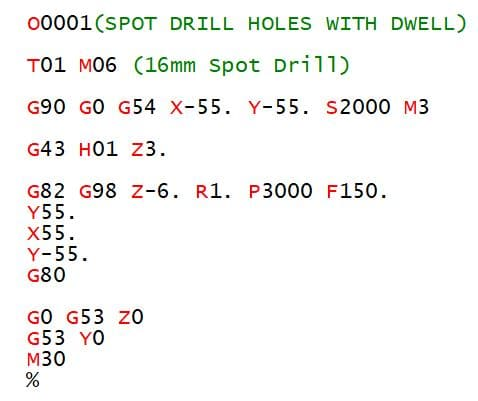 G82 Drilling Program Example