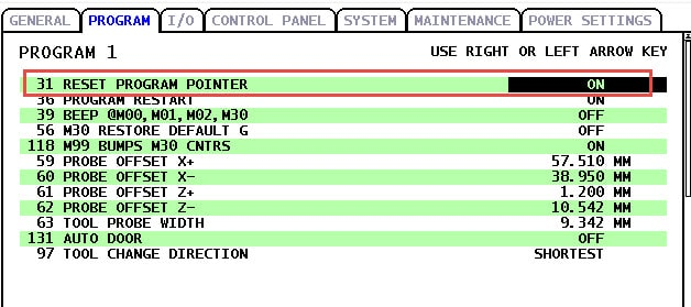 Haas Reset Program Pointer