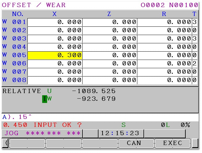 Maximum Wear Offset Fanuc Parameter