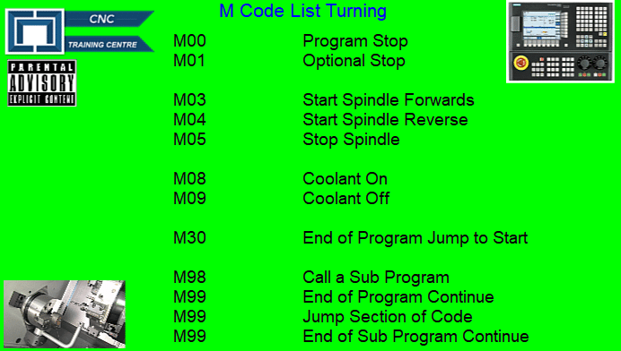 CNC Turning M Codes